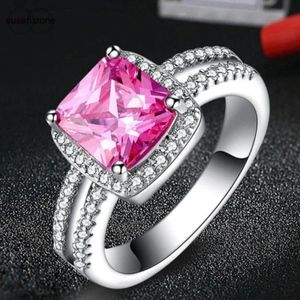 Jewelry - Pink CZ Gemstone Halo Sterling Silver Wedding Ring